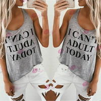 Women's Trending Popular Fashion 2016 Summer Beach Holiday Floral Printed Alphabets Words Top Women Tank Vest Shirt T-shirt _ 4653