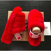 UGG hot sale couple style rendering plush slippers sandals Shoes Boots Red