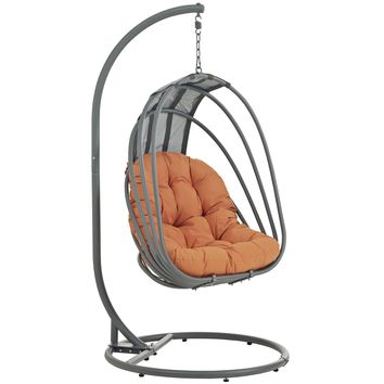 Whisk Outdoor Patio  Swing Chair With Stand Orange EEI-2275-ORA-SET
