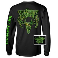 Country Life Outfitters Black & Green Camo Realtree Deer Skull Head Hunt Vintage Unisex Long Sleeve Bright T Shirt
