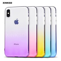 Luxury Gradient Phone Cases For iPhone X 6 7 8 Plus case Silicon Soft TPU Ultra Thin Back Cover For iPhone 7 8 6 Plus Case P5