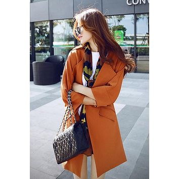 Pure Color 3/4 Sleeves Loose Scoop Pockets Long Coat