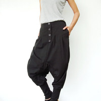 NO.64   Dark Grey Cotton-Blend Casual Baggy Dance Harem Pants Stylish Button Fly Drop-crotch Trousers