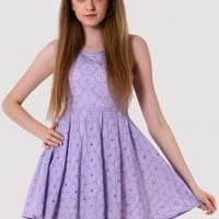 Eyelets Floral Embroidery Purple A-line Dress