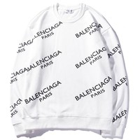 Balenciaga 2018 autumn new full printed letter logo round neck pullover sweater White