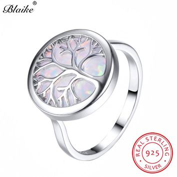 Blaike Vivid Life Tree White/Blue Fire Opal Rings For Women Men S925 Sterling Silver Ring Fine Jewelry Rainbow Birthstone Gifts