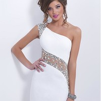 [70.71] Charming Chiffon & Tulle Sheath One Shoulder Neckline Mini Homecoming Dress With Rhinestones - Dressilyme.com
