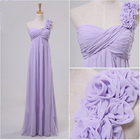 Elegant One Shoulder Flowers Long Purple Wedding Party Dresses Bridesmaid Dresses Custom Make CH-10128 = 1956856580