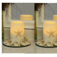 """Oceanside Starfish and Shells 4"""" x 6""""  Flameless LED Ivory Pillar Candle (Set of 2)"""
