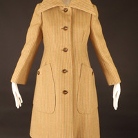 GEOFFREY BEENE-1970s Wool Chevron Stripe Coat, Bust-38