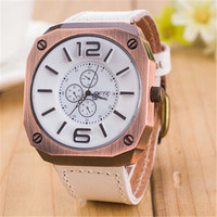 Mens White Leather Strap Watch Casual Sports Watches Christmas Gift