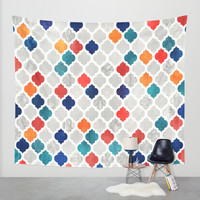 Sea & Spice Moroccan Pattern Wall Tapestry by Micklyn