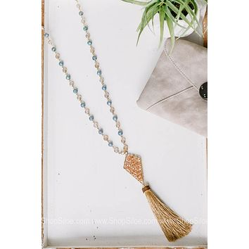 Evening Allure Drop Necklace with Tassel