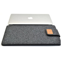 """Dark Gray Color New Woolen Felt Laptop Sleeve Bag Cover Case For Laptop/Samsung/Sony/HP/ Macbook Air Pro/Dell 11""""13"""" 15 """""""