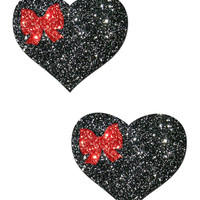 SWEETY: BLACK GLITTER HEART WITH RED GLITTER BOW NIPPLE PASTIES