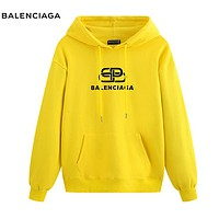 Balenciaga New fashion letter print couple hooded long sleeve sweater top Yellow