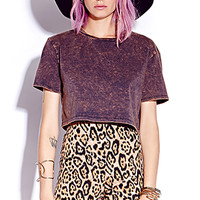 Mineral Wash Cropped Tee | FOREVER 21 - 2000129181