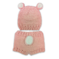 So 'dorable Chucky Knit Bear 2-Piece Hat and Diaper Set in Pink