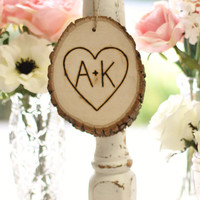 Personalized Ornament Rustic Tree Slice Engraved Wood Shabby Chic Holiday Decor Wedding Gift (Item Number MHD20043)