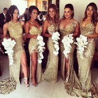 2017 New Bridesmaid Dresses Gold Sequined Split Mermaid Maid of honor Gowns Sparkly Different Style Long Bridesmaid Dress 1884