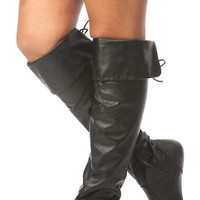 Black Faux Leather Knee High Fold Over Boots