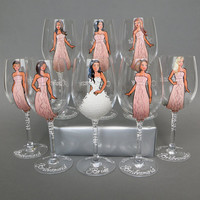 SALE Bridal Party Wine or champagne Glasses Bridesmaids and Bride's Gift - Personalized Caricatures Handpainted to their Likeness