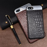 for Iphone7 leather case for 7plus metal wire drawing mobile phone shell crocodile skin paste leather phone case