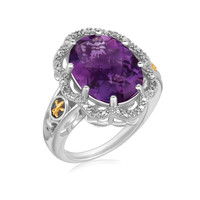 18K Yellow Gold and Sterling Silver Fleur De Lis Ring Amethyst and Diamonds: Size 7