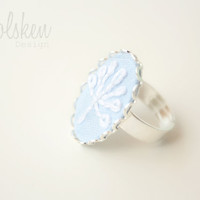 Dandelion Embroidery Adjustable Ring * Flower Embroidery * Flowers * Gift * Mother * Nature Pattern * White Flowers on Blue * Make a wish