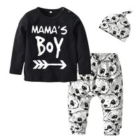 Newborn Baby Boy Clothes Cotton Mama's Boy T-shirt + Panda Pants + Hat Infant Baby Boys Clothing Set Toddler 3Pcs Outfit