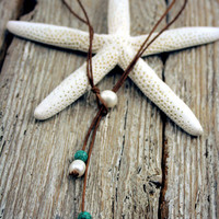 """Seaside Pearls """"Kai"""" Pearl, Leather, & Turquoise Versatile 3-Way Necklace"""