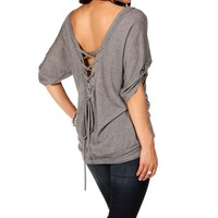 Pre-Order: H. Gray Lace Up Back Top