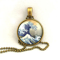 10% SALE - Necklace Copper,  The Great Wave Of Kanagawa, Hokusai Art Pendant Necklaces Gift