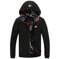 ADIDAS 2018 autumn and winter new casual hooded warm cardigan jacket black