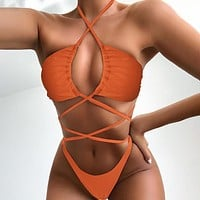 Solid Color Hollow One Piece Swimwear Bikini Swimsuit