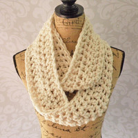 Pre Fall Sale Ready To Ship Infinity Scarf Crochet Fisherman Wool Blend Winter White Ivory Women's Accessories Eternity Fall Winter