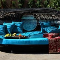 Patio Furniture | Handcrafted Outdoor Wicker Daybed | For Better Homes and Gardens | Rose Garden Seating | Blue: Patio, Lawn & Garden
