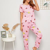 Strawberry Print Striped PJ Set With Eye Mask