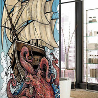 the octopus attack shower curtain, curtains, shower curtains size 36x72 48x72 60x72 66x72