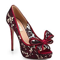 Valentino - Couture Lace Bow Platform Pumps - Saks Fifth Avenue Mobile