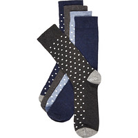 River Island MensNavy and grey polka dot sock 5 pack