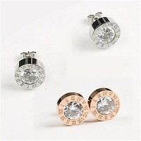 8DESS Stainless Steel Round Shine 8MM Diameter Stud Earrings Women High Quality Brand Jewelry