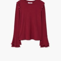 Ruffled ribbed t-shirt