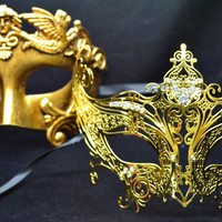 Roman Greek God and Goddess Set - His & Hers Luxury Masquerade Masks [Antique Gold Themed]  - New Year's Eve, Mardi Gras Theater