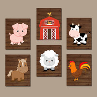 FARM Animals Wall Art, Canvas or Prints Country Baby Boy Nursery Artwork, Cow Pig Barn Rooster Sheep Horse Western Boy Bedroom Set of 6