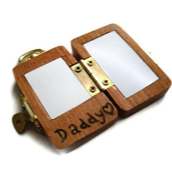 Wooden Locket Key Chain - Daddy Personalized Wood Burnt