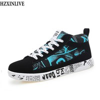 HZXINLIVE 2018 Winter Woman Casual Shoes Flat Bottom Ladies Vulcanized Shoes Graffiti Lovers Shoes Women Sneakers Zapatos Mujer