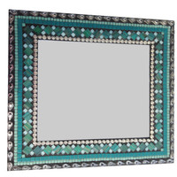 Silver and Teal Decorative Wall Mirror, Mixed Media Mosaic, Handcrafted Mirror