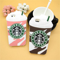 Fashion 3D Cartoon Starbuck Coffee Rubber Soft Cute Back Cover for Apple iPhone 6 6s 4.7'' Funny Silicone Phone Case Shell