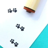 Paw Prints Rubber Stamp